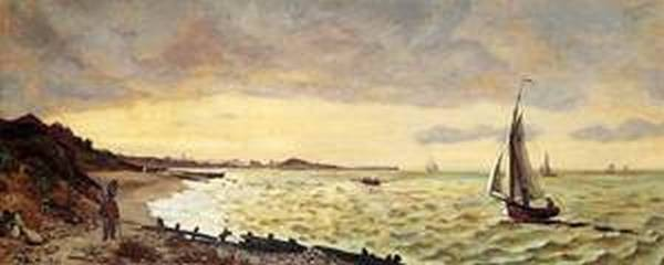 Seascape The Beach at Sainte Adresse 1865